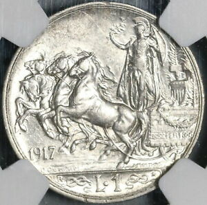 1917 NGC AU 55 Italy 1 Lira Horses & Chariot Silver Coin (21020103C)