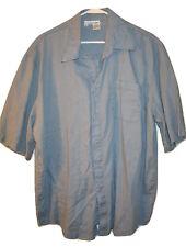 Vtg INTERNATIONAL MALE MEN'S LINEN SHORT SLEEVE BLUE BUTTON DOWN SHIRT XL
