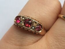 Antique ruby and pearl Ring 9Carat Gold size P made by G&S