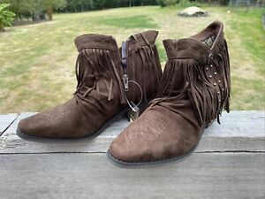 Roper Fringy Womens Brown Faux Leather Fashion Boots Sz 7.5 New in Box!