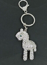 DIAMANTE SILVER COLOUR CUTE HORSE KEY RING HANDBAG CHARM GREAT GIFT