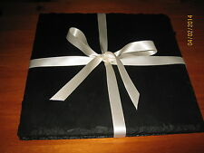 8 NATURAL SLATE SQUARE PLACEMATS & 8 COASTERS, PLATTERS 25X25CM FREE POSTAGE!!!