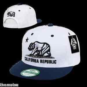 CALIFORNIA REPUBLIC SNAPBACK BEAR  WHITE AND NAVY  BASEBALL EMBROIDERED HAT CAP