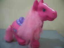 "10"" Large Pink My Little Pony w/Butterflies & Purple Heart Saddle MLP HEAD MOVES"