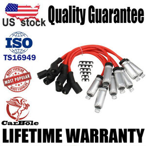 8mm 748UU Spark Plug Wire Set  Kits W/Heat Shield For Round Coil Stamped US