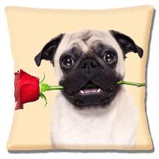 """Carino Fawn Pug con rosa rossa in Bocca Valentine Love 16 """"Cuscino Coprire"""
