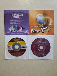National Geographic Britannica Atlas Encarta PC DVD 4 Total Lot
