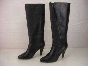 Women's 6.5 M Casadei Montaldo's Black Leather Snakeskin Knee High Boots Heels