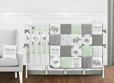 Sweet Jojo Mint Grey White Watercolor Elephant Safari 9p Baby Crib Bedding Set
