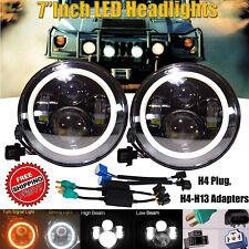 "For Hummer H1 H2 H3 H3T 7""Inch 120W LED Halo Angel Eye Headlight Lamp H4-H13 DRL"