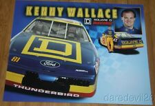 """1996 Kenny Wallace Square D """"2nd issued"""" Ford Thunderbird NASCAR WC postcard"""