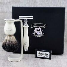 CLASSIC SHAVING KIT Black Badger Brush & Safety Razor MEN'S GROOMING SET GIFT
