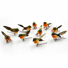 10pcs Robin Bird Christmas Tree Decoration Craft Very Cute Artificial Feather UK