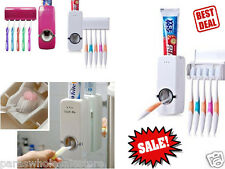 HI-WELL Brand Automatic Toothpaste Dispenser & 5 Toothbrush Holder At Deal Price