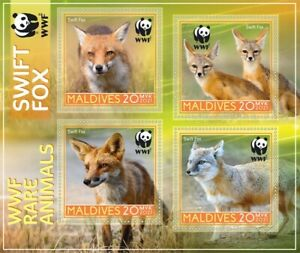Stamps  Fauna WWF 2021 year wild animals of the red book Swift Fox