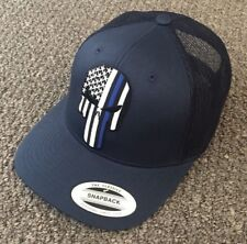 PUNISHER Skull Thin Blue Line Hat USA Flag Police SnapBack Cap Made in the USA!