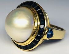 Antique 18K Yellow Gold Ring Natural Pearl Surrounded by Sapphires Size 7.25