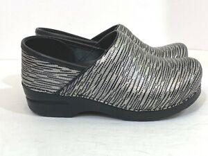 Dansko Leather Black Silver Striped Metallic Comfort Nurse Clogs 38 US 7.5 NEW