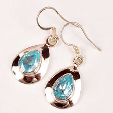 "Genuine .925 Silver BLUE TOPAZ Gem EARRINGS ~ 1 1/4"" (35mm) ~ Up to 4.9g / .18oz"