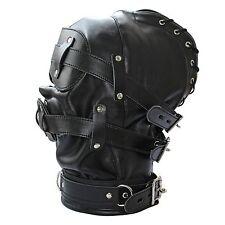 Open Mouth Gag Leather Full Gimp Hood Mask Padded Locking eyes Blindfold Bondage