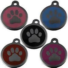 Acero Inoxidable Paw Etiqueta De Mascota 25mm Varios Colores By Melian