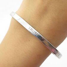 "Elle 925 Sterling Silver Real Ruby Gemstone Love Trust Hope Cuff Bracelet 7"""