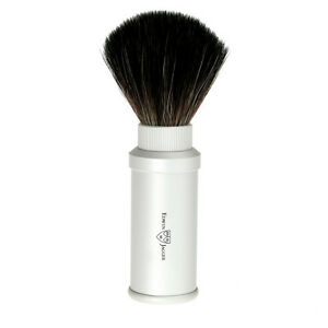 Edwin Jagger Travel Brush, Black Synthetic Fibre and Anodized Aluminum Handle