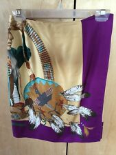RALPH LAUREN COUNTRY SIOUX INDIAN CHIEF Silk Scarf Wrap Skirt 1990's Rare