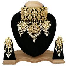 Indian Kundan Jewelry Gold Tone Bollywood Designer Necklace Earrings Set