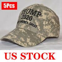 5 Pack Trump 2020 Camo Hats Keep America Great President Election MAGA Caps USA