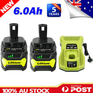 2X 6.0AH For Ryobi One+ Plus P108 18V Battery RB18L50 P104 RB18L40 / & Charger