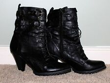 Yoki Boots Women's Size 10 Black Lace Up Buckles 3 In Heel