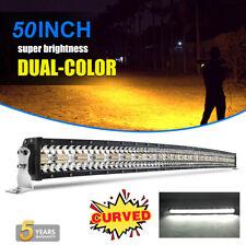 """50"""" CURVED LED Light Bar Amber White Strobe Flash Tri Rows Drving Fog Lamp 52"""""""