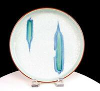 "JAPANESE CELADON BLUE GREEN BRUSH STROKES MOTIF 8 5/8"" LOW FOOTED PLATE"