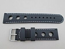 20mm black silicone rubber racing watch band strap stitched in white