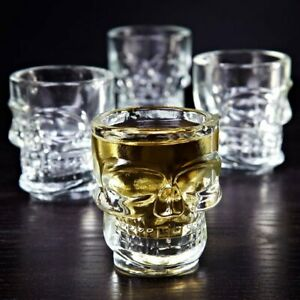 Skull Shaped Shot Glasses Drink Whisky Vodka Tequila Spirits Giftboxed Set of 4