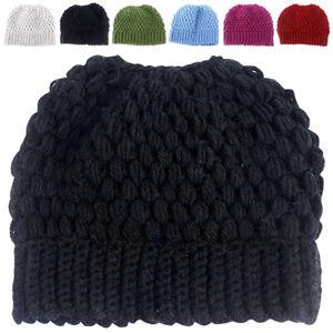 Ladies Women Knit Hat Cap Messy Bun Ponytail Beanie Holey Girl Warm Stretch Hats
