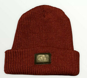 Adidas Maroon Winter Beanie Hat Cap Mens Womens One Size Fits All Leather Patch