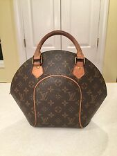 LOUIS VUITTON Brown Leather LV Monogram Ellipse Clamshell Bowling Bag Handbag