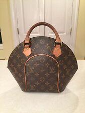 LOUIS VUITTON Brown Leather LV Monogram Ellipse Clamshell Bowling Bag Handbag