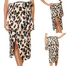 UK Vintage Women's Leopard Print Pleated Long Skirt Mid Waist Casual Maxi Dress