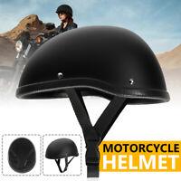 Motorcycle Half Helmet Skull Cap Hat Matte Black  Fit For Chopper Bobber