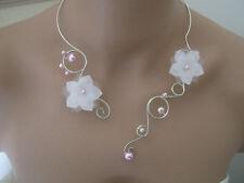 Collier Blanc Rose pâle fleur pr robe de Mariée/Mariage/Cérémonie perle pas cher