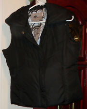 L Ladies Womens KC Collections Vest Jacket Black Filled Zip Pockets Wide Snap