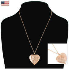 USA Made Rose Gold Tone Rose Heart Photo Locket Pendant Necklace
