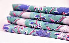 5 Yard Hand Block Print Upholstery Dabu Flower Print Cotton Running Fabric Art