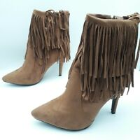 Womens Ladies Tan Faux Suede High Heel Fringe Shoes Ankle Boots Size UK 8 New