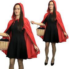 Adult Ladies Short Little Red Riding Hood Cape & Hood Cloak  Fancy Dress Party