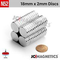 """25 50pc 18mm x 2mm 45/64"""" x 5/66"""" N52 Strong Rare Earth Neodymium Magnet Disc"""