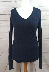 Crew Clothing Ladies Navy Cotton Cable Knit V Neck Jumper Size 10